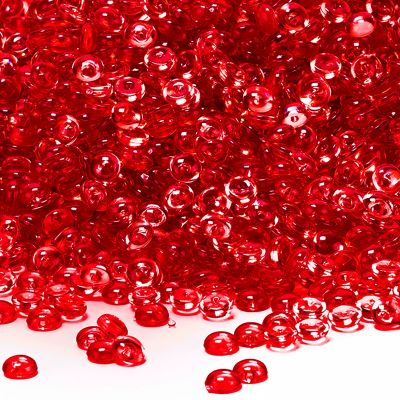 "0.25"" Red Vase Filler Acrylic Rain Drops"