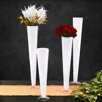White Glass Trumpet Centerpiece Vase