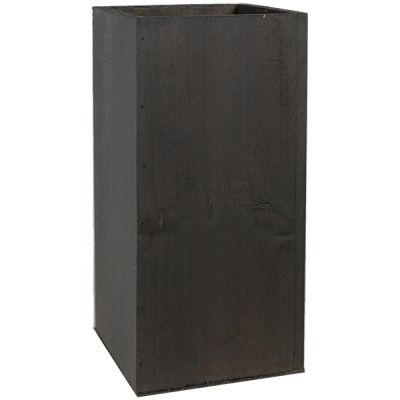"10"" Garden Wood Cube Box Planter with Zinc Metal Liner Vase"