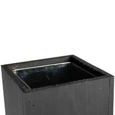 "15"" Garden Wood Cube Box Planter with Zinc Metal Liner Vase"