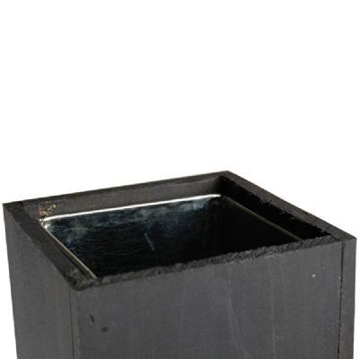 "15"" Garden Wood Cube Box Planter with Zinc Metal Liner Vase"