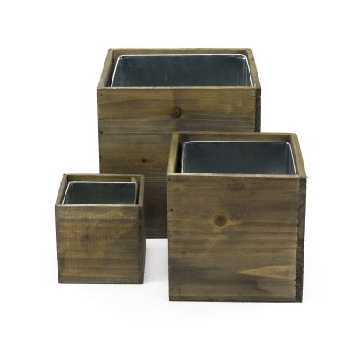 """Wood Planter Cube Boxes with Zinc Liner Set of 3. H-8"""", 6"""", 4"""""""