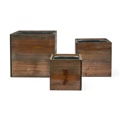 "Wood Planter Cube Boxes with Zinc Liner Set of 3. H-10"", 8"", 6"""