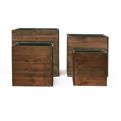 """Wood Planter Cube Boxes with Zinc Liner Set of 4. H-10"""", 8"""", 6"""", 4"""""""