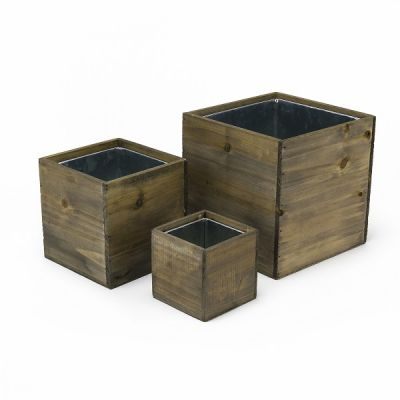 """Wood Planter Cube Boxes with Zinc Liner Set of 3. H-14"""", 12"""", 10"""""""