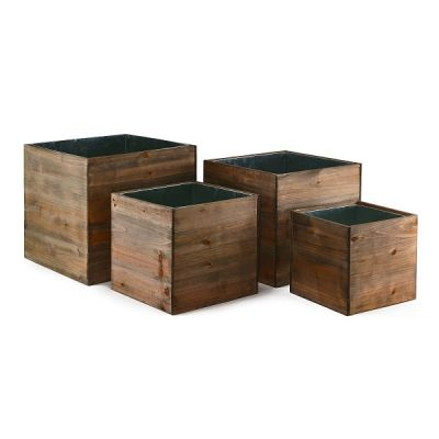 """Wood Planter Cube Boxes with Zinc Liner Set of 4. H-14"""", 12"""", 10"""", 8"""""""