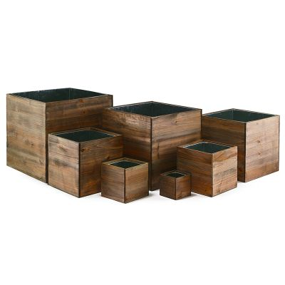 Wood Planter Rustic Cube Box with Metal Liner, Multiple Sizes