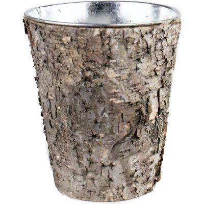"""7"""" Round Planter Birch Wood Wrap Zinc Metal Vase"""