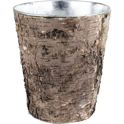 "8""  Taper Down Planter Birch Wood Wrap Zinc Metal Vase"