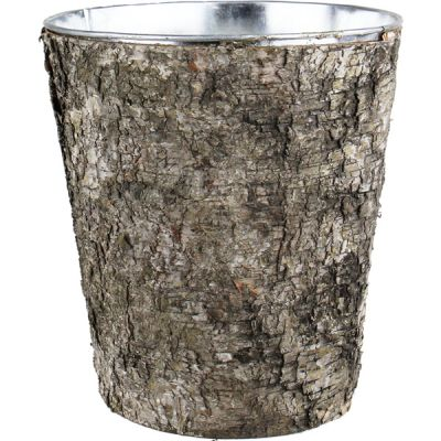 "9"" Taper Down Planter Birch Wood Wrap Zinc Metal Vase"