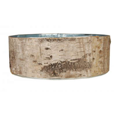 Set of 3 Natural Birch Wood Wrapped Zinc Cylinder Vase Planters