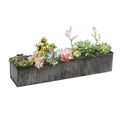 "4""x20"" Garden Planters Zinc Iron Grey Finish Rectangle Vase"