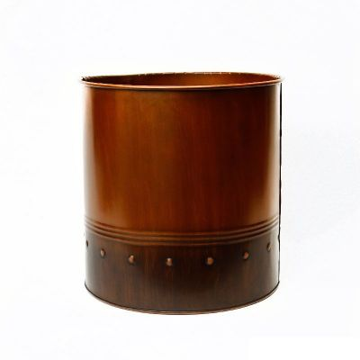 "12"" Garden Copper Zinc Metal Planter Cylinder Pot Vase"