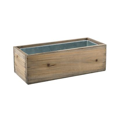 "12""x5"" Rectangle Window Planter Natural Wood Box with Zinc Liner"