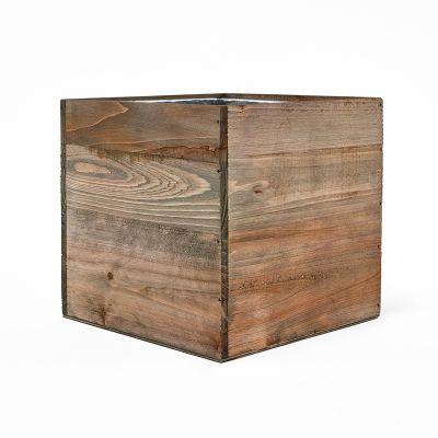 "6"" Garden Wood Square Box Planter with Zinc Metal Liner Vase"
