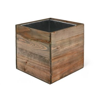 "6"" Garden Wood Square Box Planter with Zinc Metal Liner Vase"
