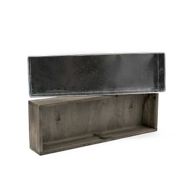 "3"" x 18"" x 6"" Rectangle Wood Planter Box w/ Zinc Liner"