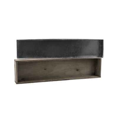 "3"" x 24"" x 6"" Natural Wood Rectangle Planter Box w/ Zinc Metal Liner"