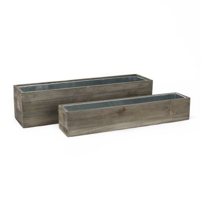 "Wood Rectangle Planter Box w/ Zinc Liner Natural H-6"", H-4"", Set of 2 (Pack of 4 sets)"