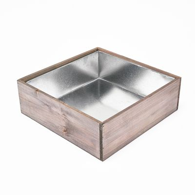 "4"" Decorative Garden Wood Square Box Planter with Zinc Metal Liner Vase"