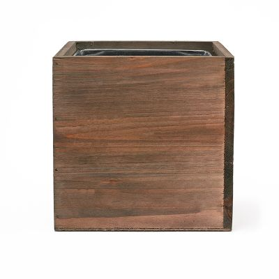 "8"" Garden Wood Cube Box Planter with Zinc Metal Liner Vase"