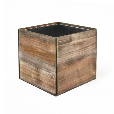 "14"" Garden Wood Cube Box Planter with Zinc Metal Liner Vase"