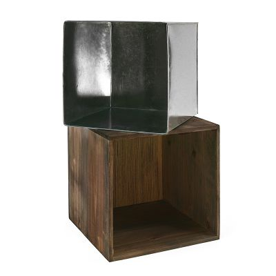"14"" Garden Wood Cube Box Planter with Zinc Metal Liner Vase"