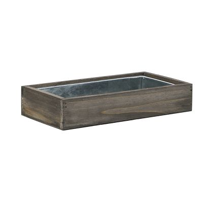 2 Piece Set, Natural Wood Rectangle Planter Box w/ Zinc Liner
