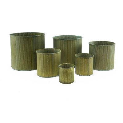 "Zinc Metal Cylinder Planter Vase | Set of 6 Sizes H-3"" - 8"""