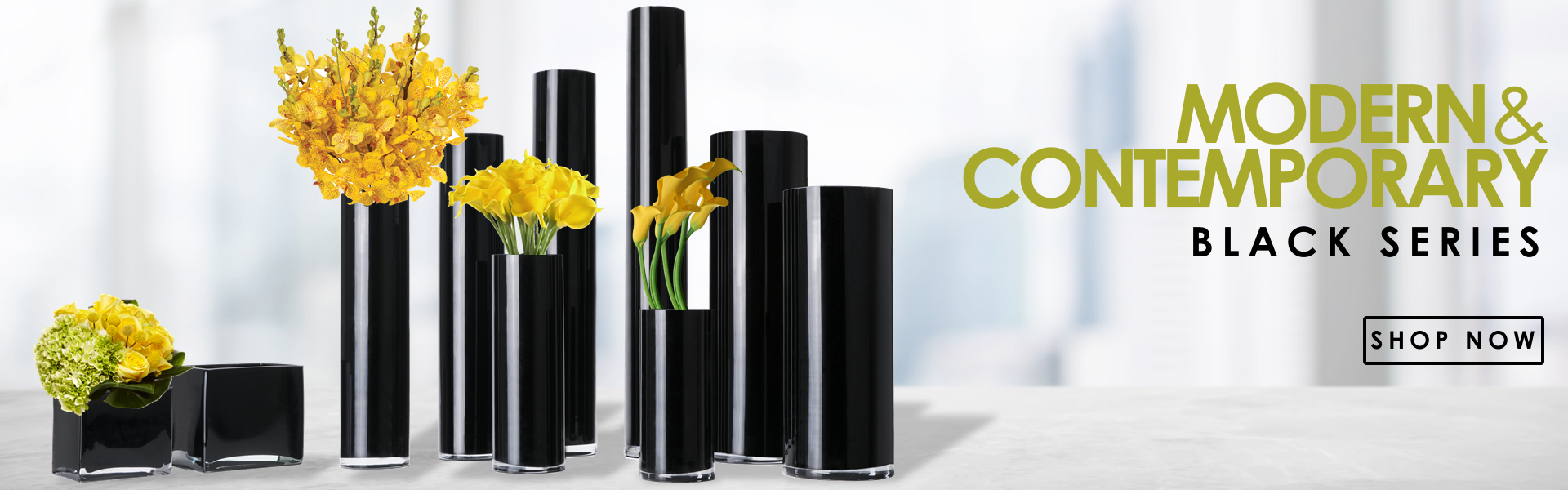 click to see more cylinder black vases