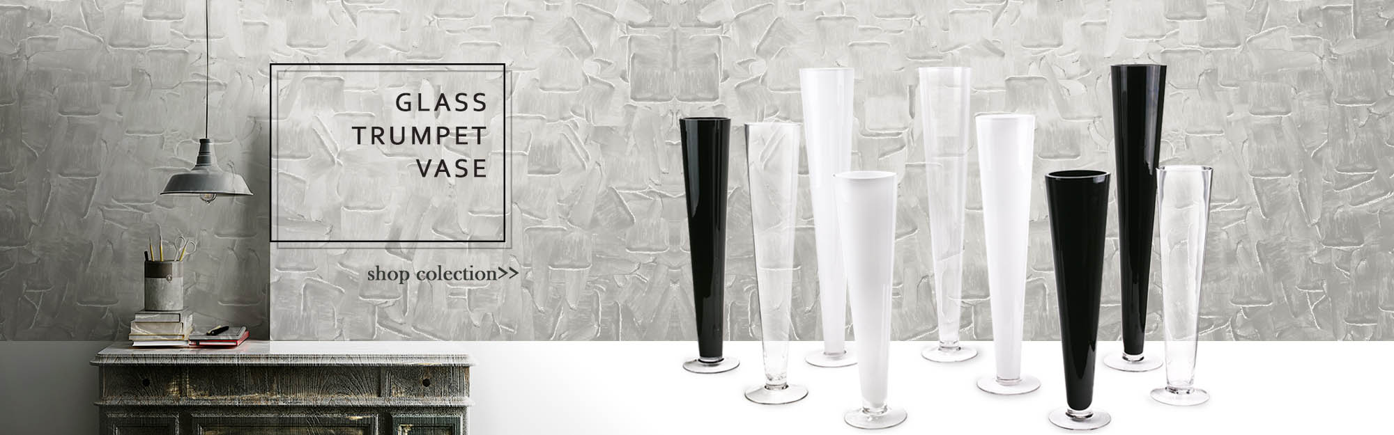 Large selections of Glass Trumpet Vases in different sizes and colors
